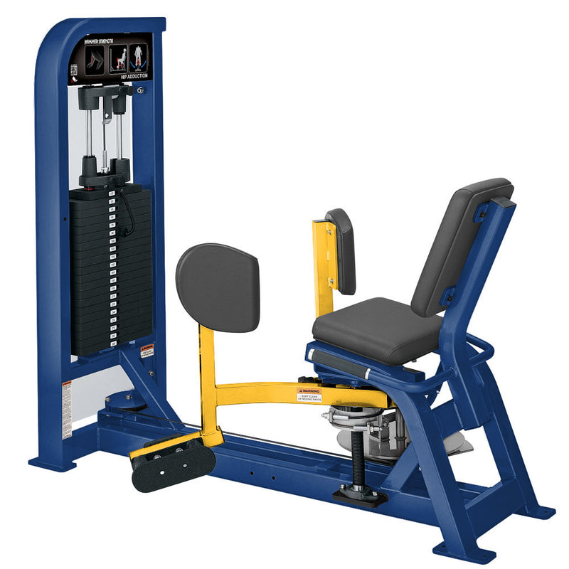 Hammer Strength Select Hip Adduction in blue and yellow.