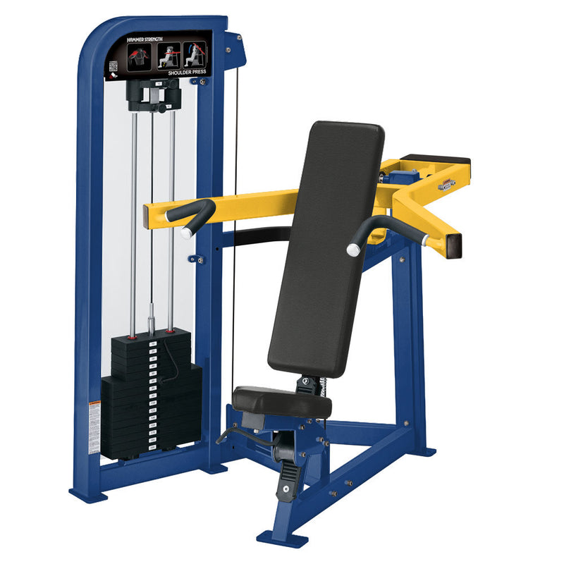Hammer Strength Select Shoulder Press in blue and yellow.