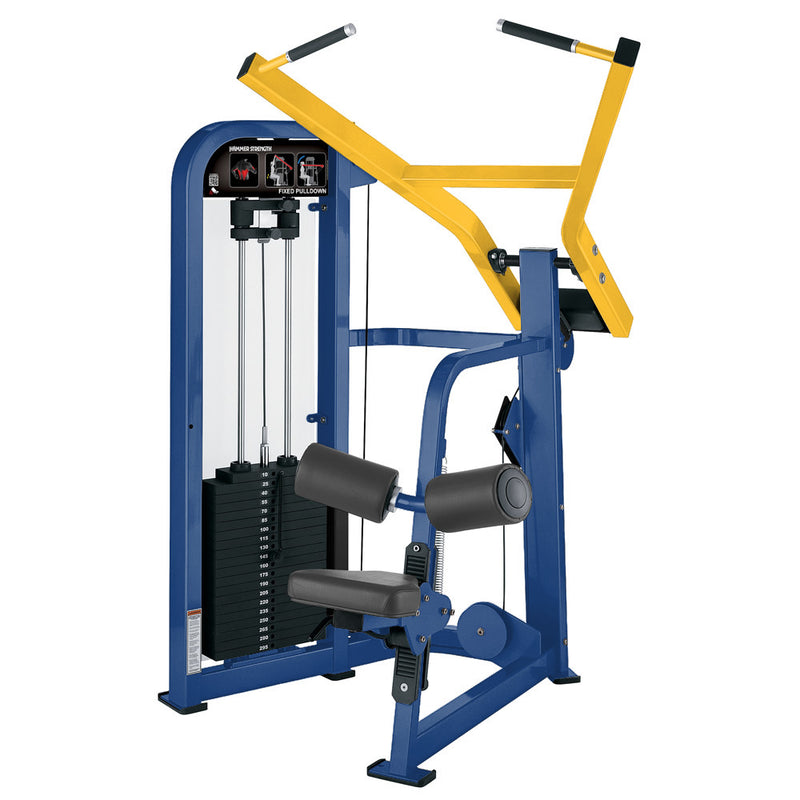 Hammer Strength Select Fixed Pulldown in blue and yellow.