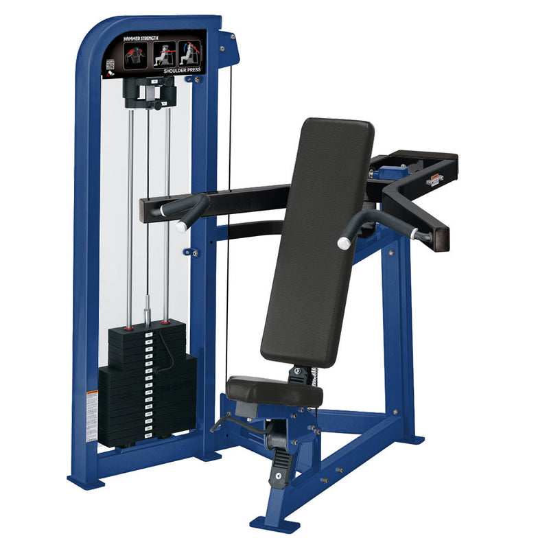 Hammer Strength Select Shoulder Press in blue and black.