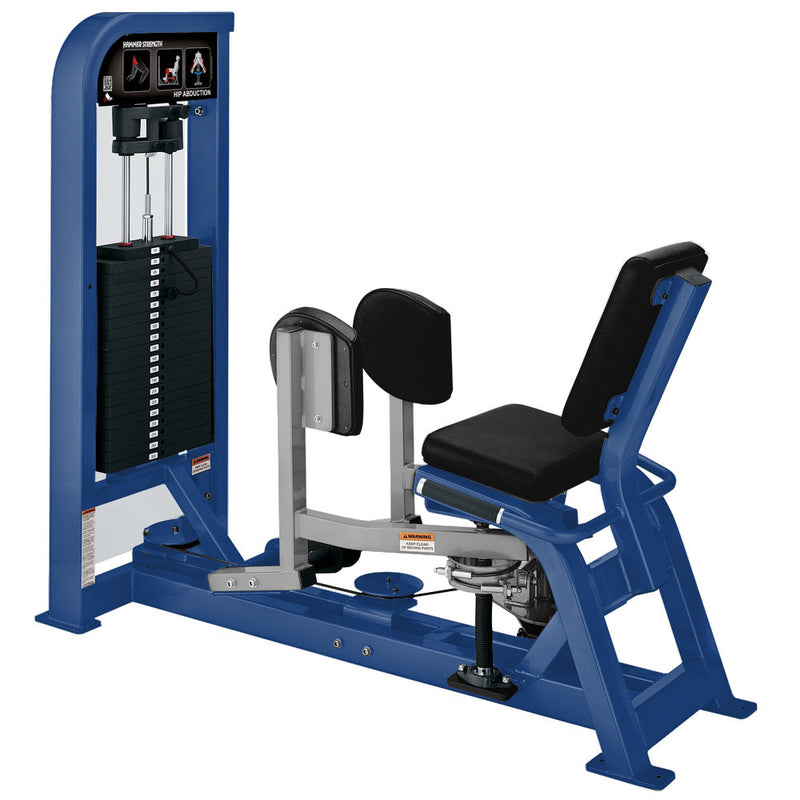 Hammer Strength Select Hip Abduction in blue and platinum.