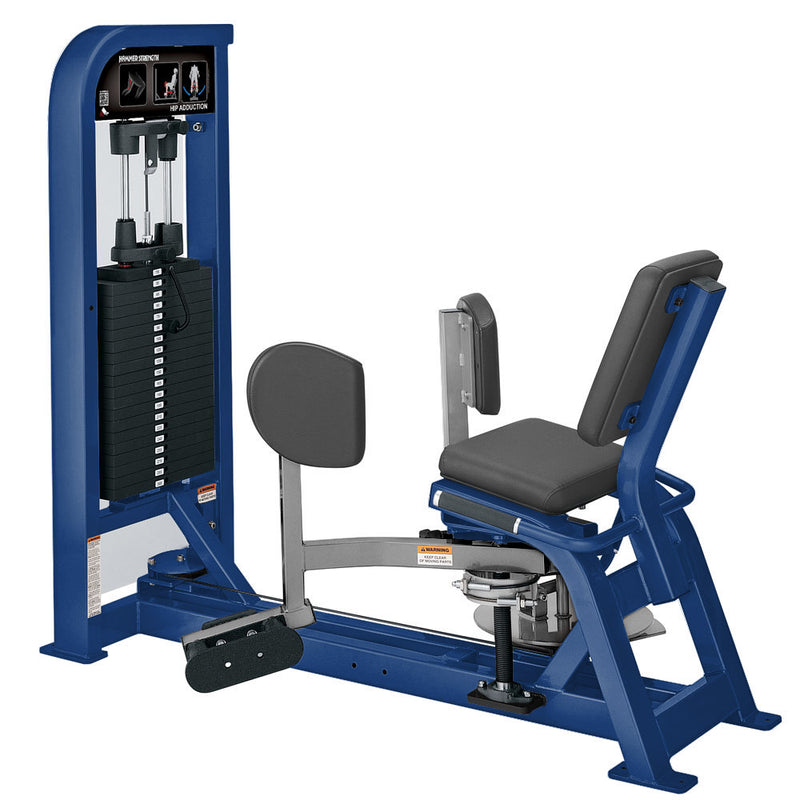 Hammer Strength Select Hip Adduction in blue and platinum.