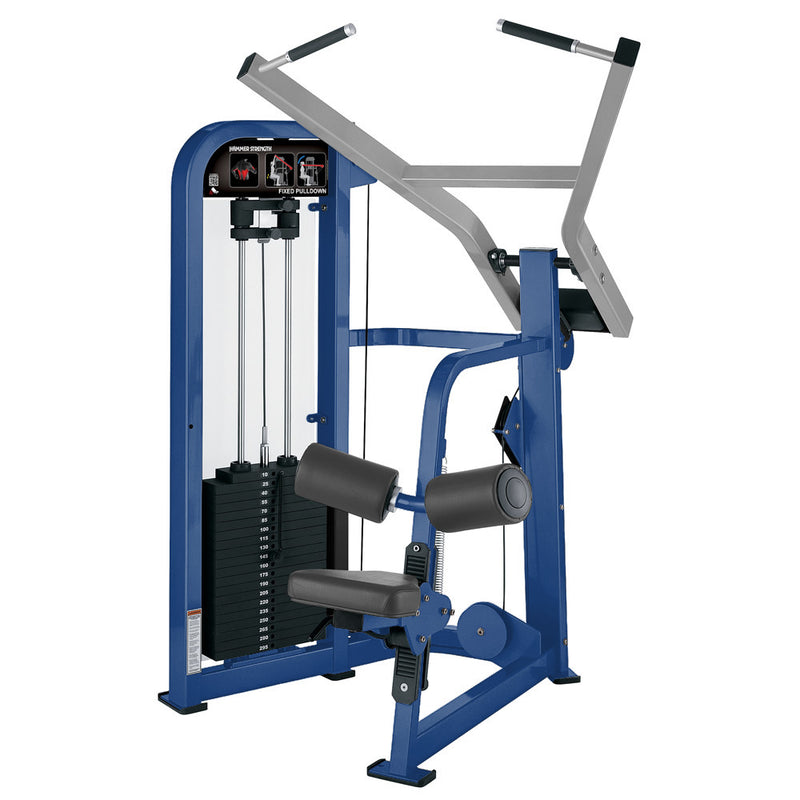 Hammer Strength Select Fixed Pulldown in blue and platinum.