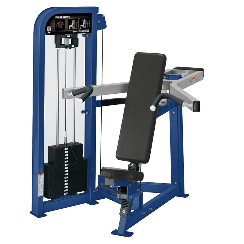 Hammer Strength Select Shoulder Press in blue and platinum.