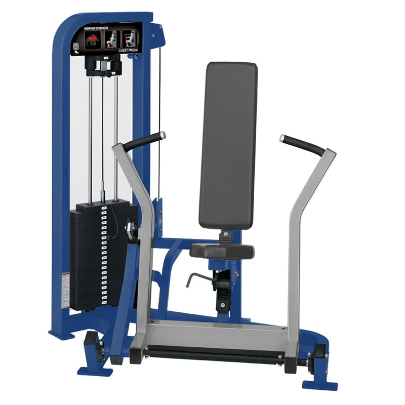 Hammer Strength Select Chest Press in blue and platinum.