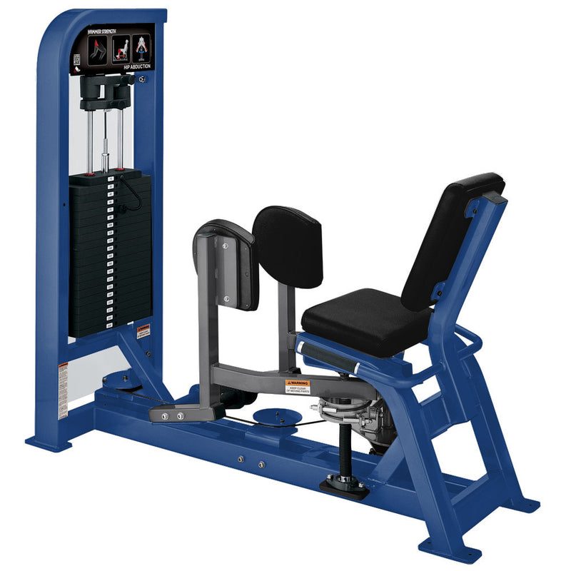 Hammer Strength Select Hip Abduction in blue and titanium.