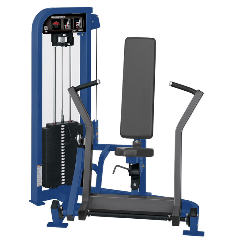 Hammer Strength Select Chest Press in blue and titanium.
