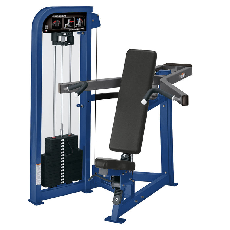 Hammer Strength Select Shoulder Press in blue and titanium.