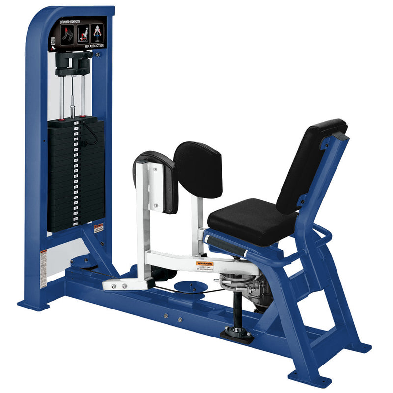 Hammer Strength Select Hip Abduction in blue and white.