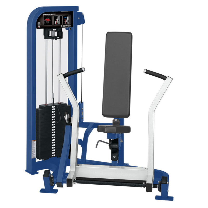 Hammer Strength Select Chest Press in blue and white.