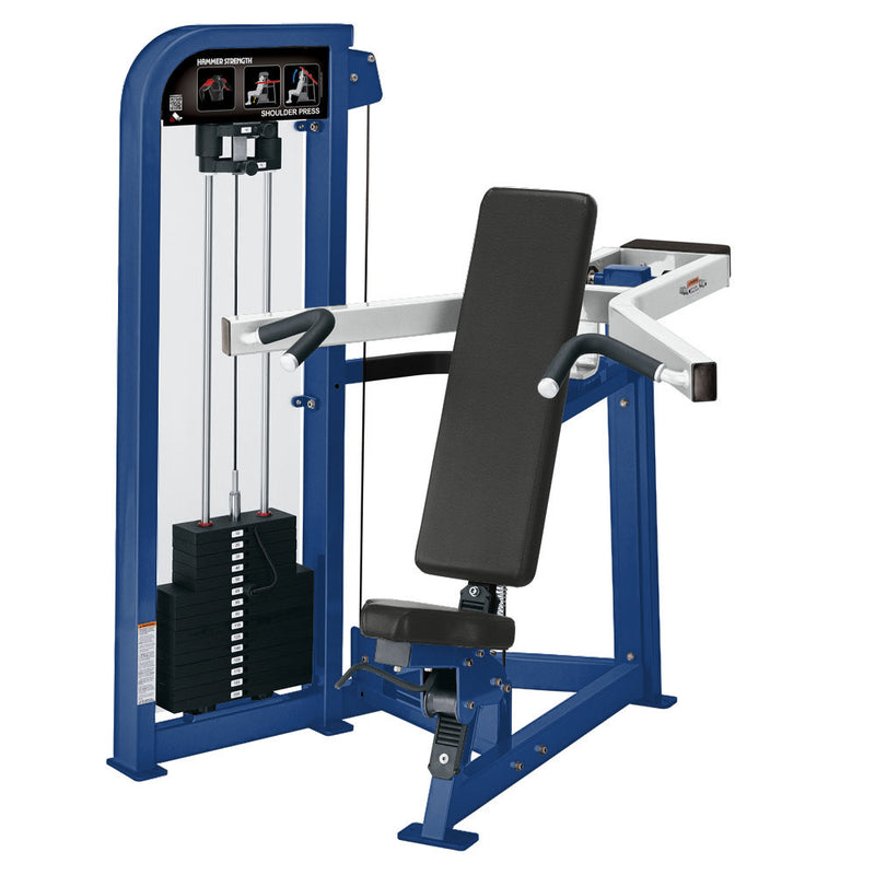 Hammer Strength Select Shoulder Press in blue and white.