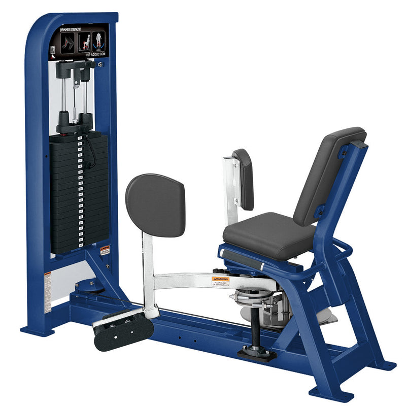 Hammer Strength Select Hip Adduction in blue and white.