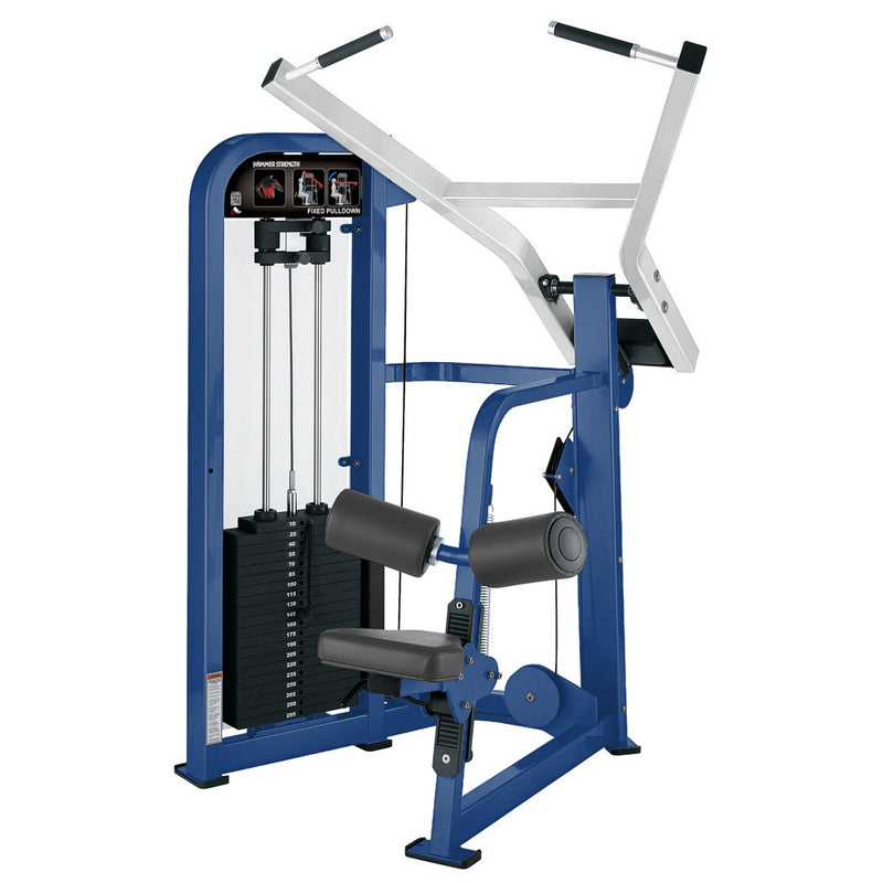 Hammer Strength Select Fixed Pulldown in blue and white.