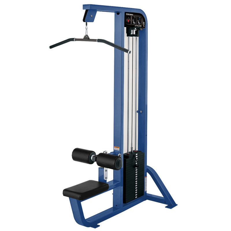 Hammer Strength Select Lat Pulldown in blue with black leather.