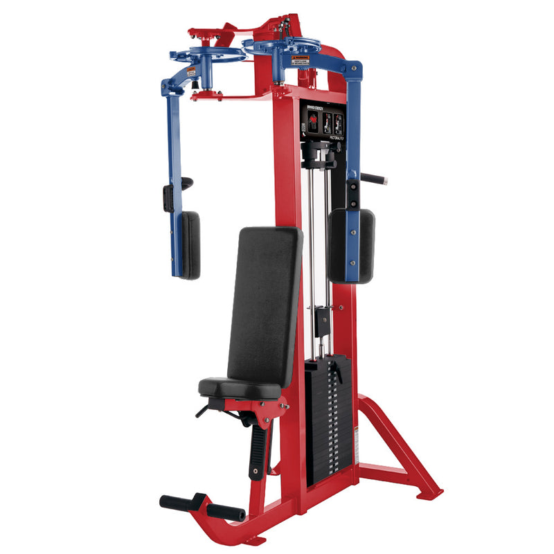 Hammer Strength Select Pectoral Fly in red and blue.