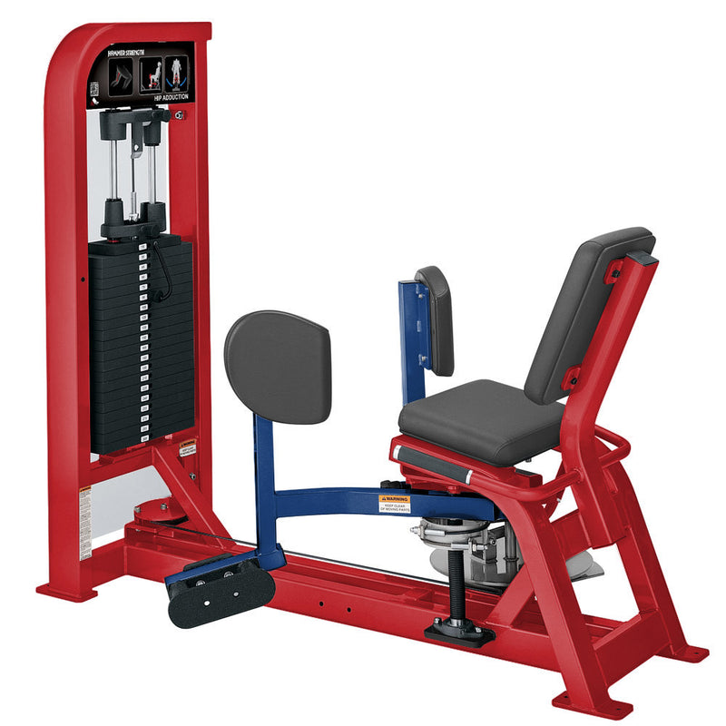 Hammer Strength Select Hip Adduction in red and blue.