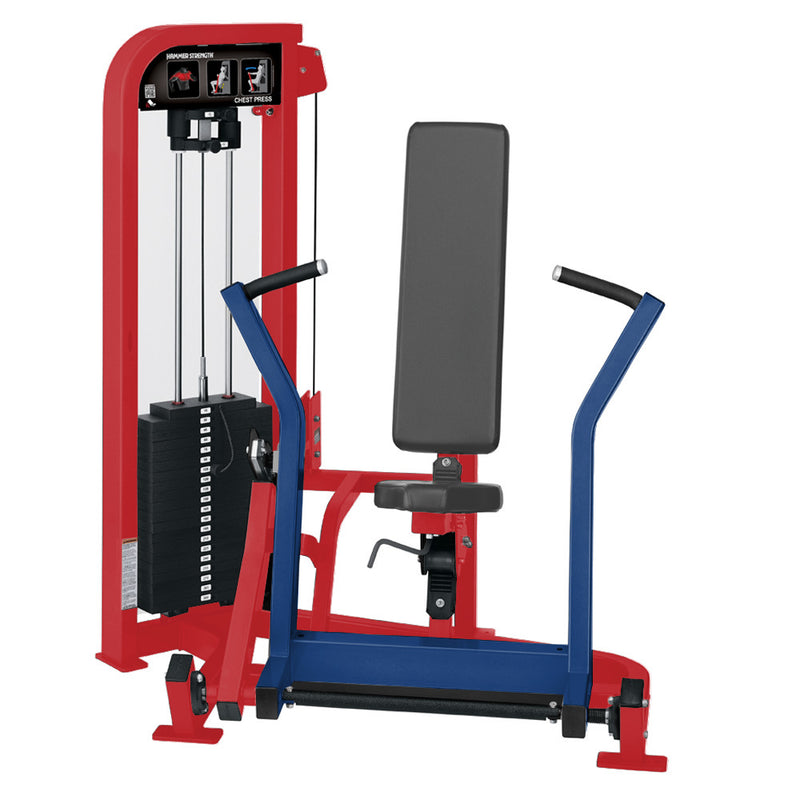 Hammer Strength Select Chest Press in red and blue.