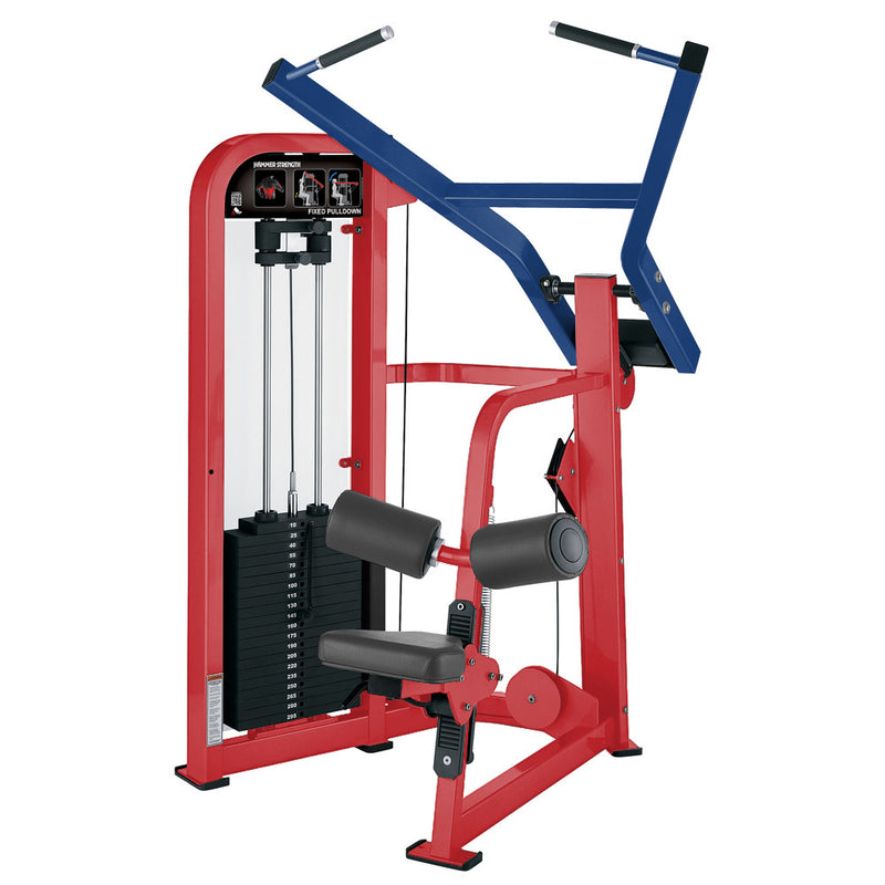 Hammer Strength Select Fixed Pulldown in red and blue.