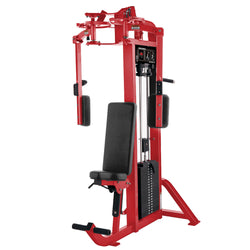 Hammer Strength Select Pectoral Fly in all red.