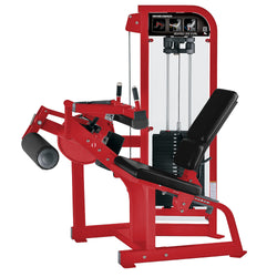 Hammer Strength Select Seated Leg Curl in red with black leather.