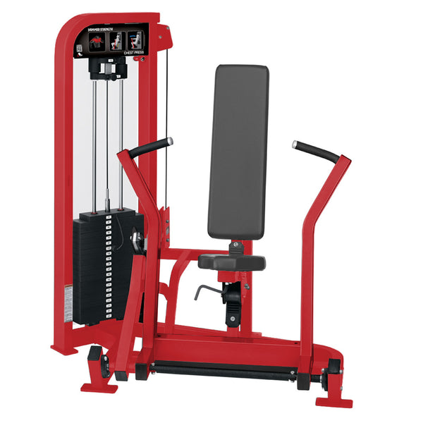 Hammer Strength Select Chest Press in all red.
