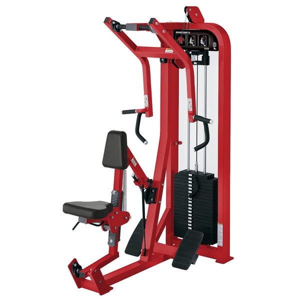 Hammer Strength Select Seated Row in all red.