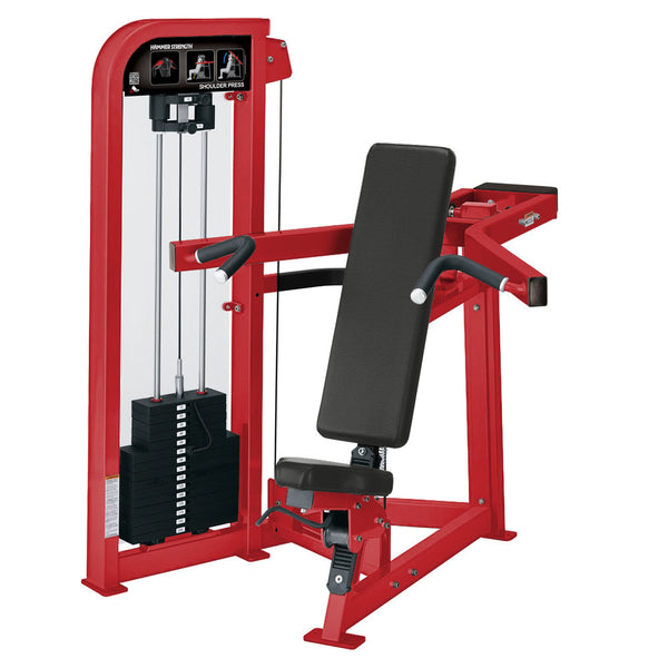 Hammer Strength Select Shoulder Press in all red.