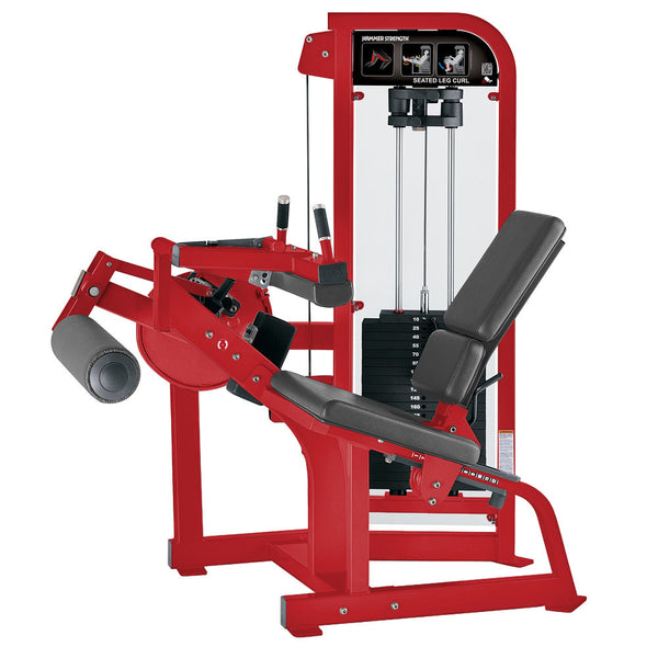 Hammer Strength Select Seated Leg Curl in red with slate leather.
