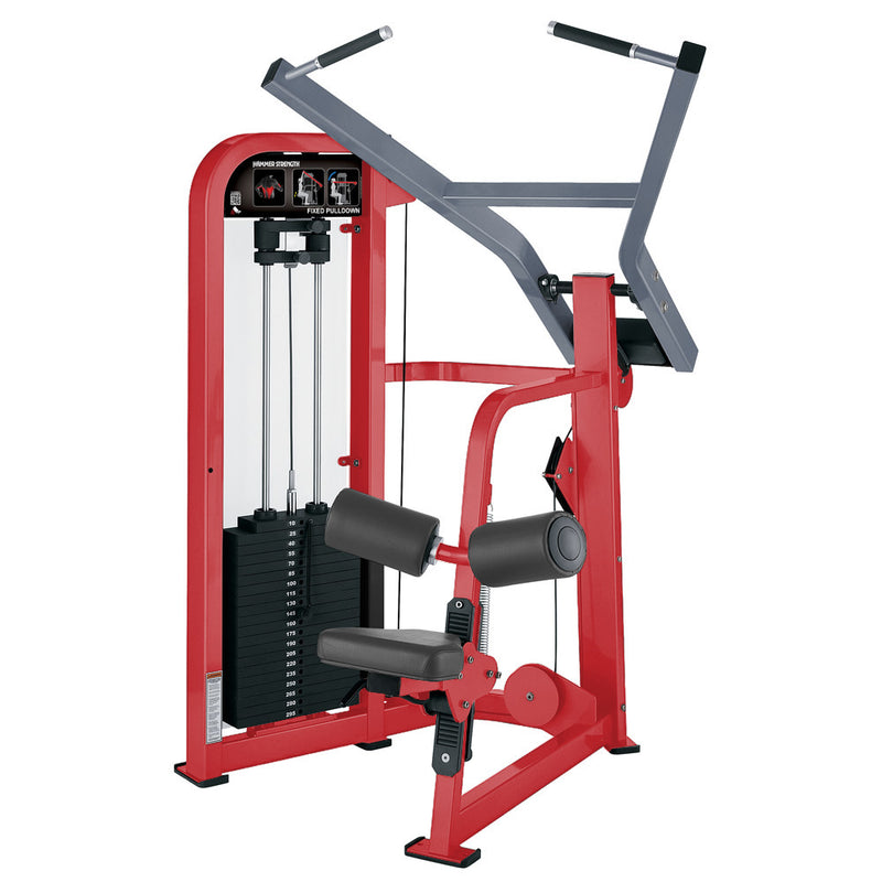 Hammer Strength Select Fixed Pulldown in red and ice blue metallic.
