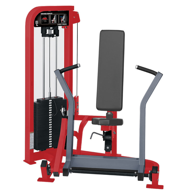 Hammer Strength Select Chest Press in red and ice blue metallic.