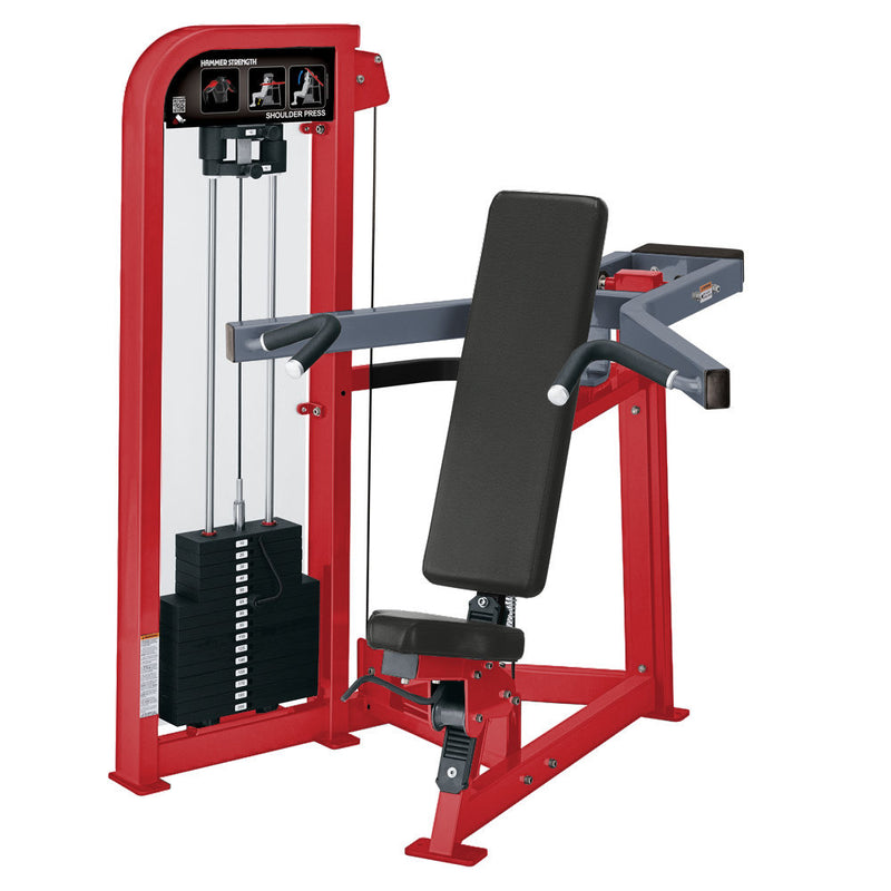 Hammer Strength Select Shoulder Press in red and ice blue metallic.