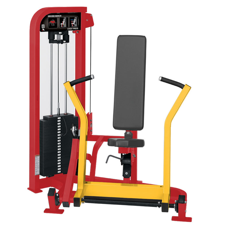 Hammer Strength Select Chest Press in red and yellow.