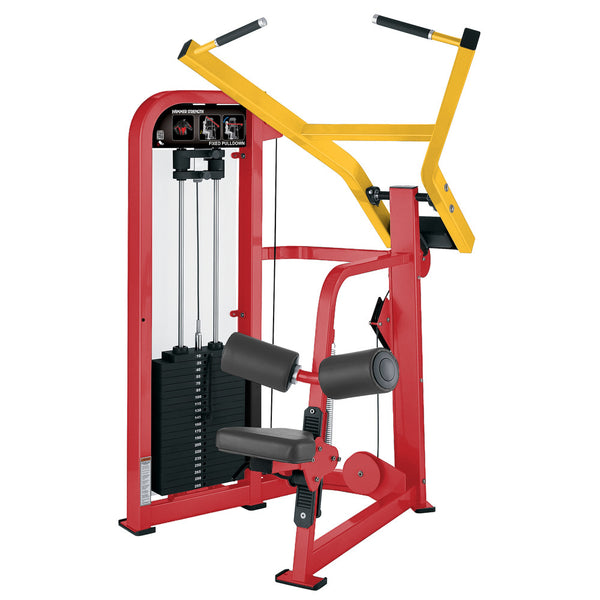 Hammer Strength Select Fixed Pulldown in red and yellow.
