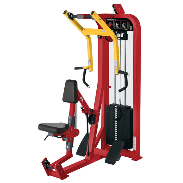 Hammer Strength Select Seated Row in red and yellow.