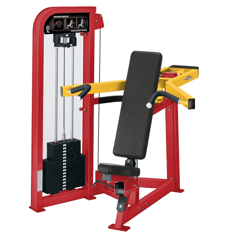 Hammer Strength Select Shoulder Press in red and yellow.