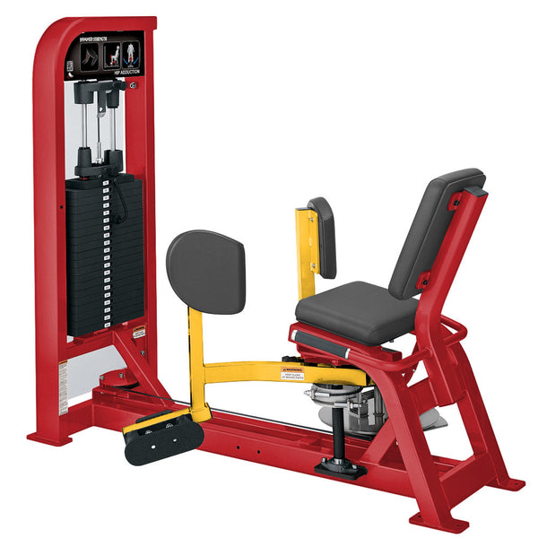 Hammer Strength Select Hip Adduction in red and yellow.