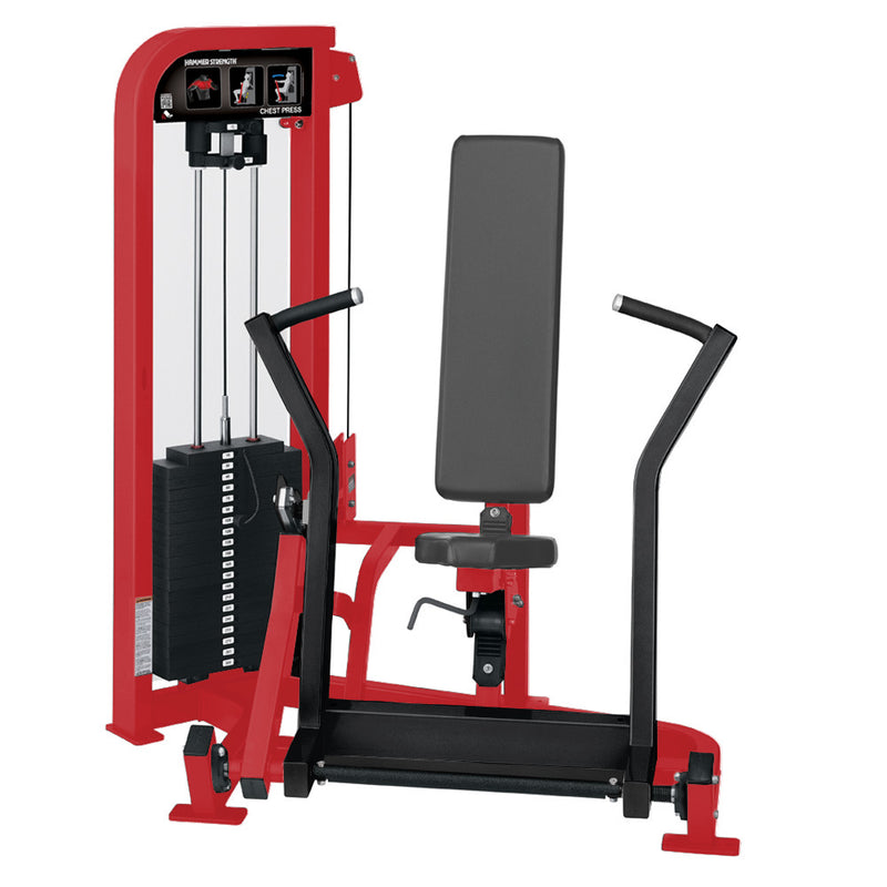 Hammer Strength Select Chest Press in red and black.