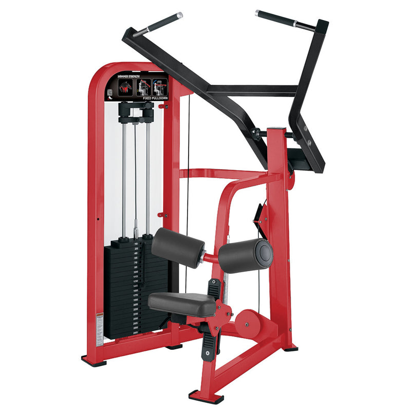 Hammer Strength Select Fixed Pulldown in red and black.