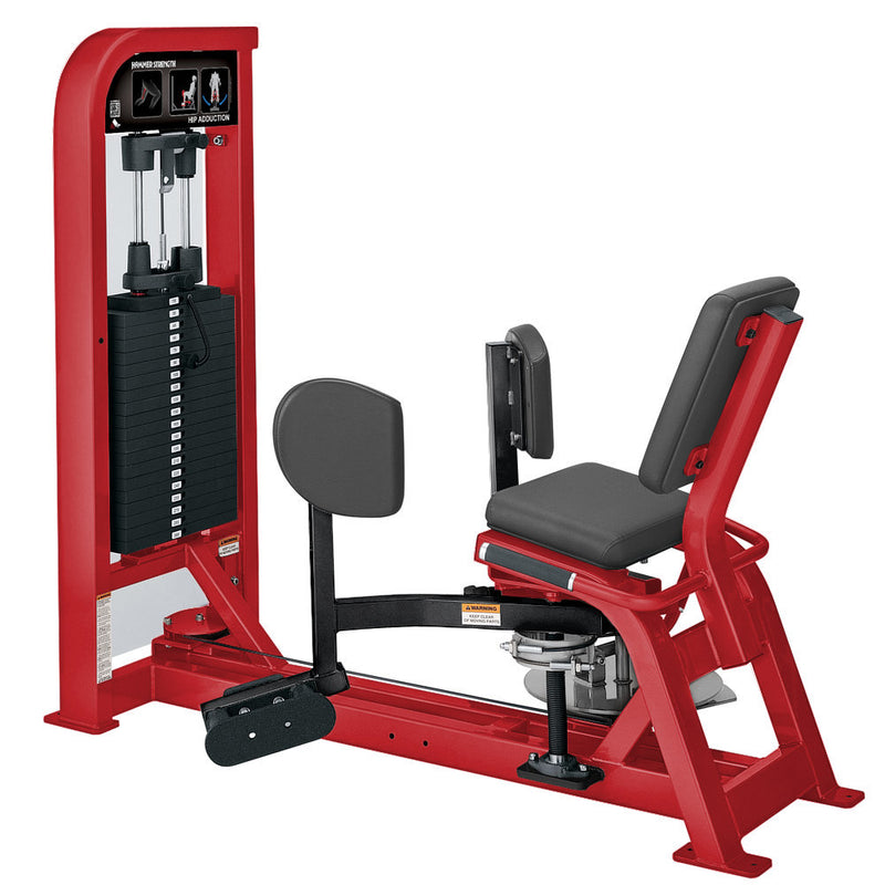 Hammer Strength Select Hip Adduction in red and black.
