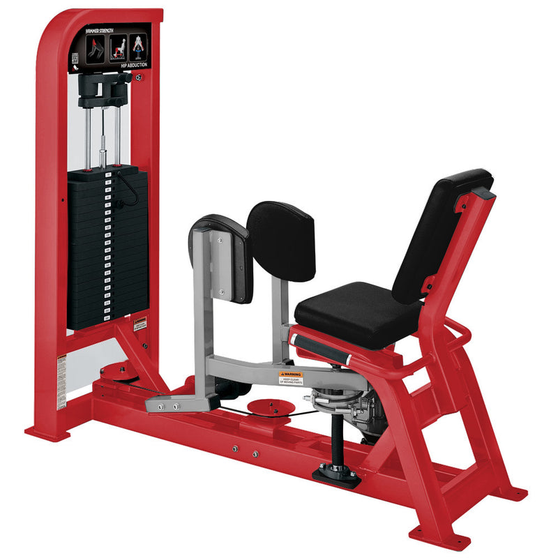 Hammer Strength Select Hip Abduction in red and platinum.