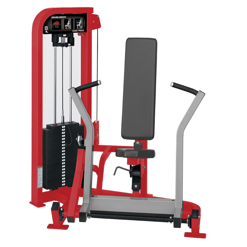 Hammer Strength Select Chest Press in red and platinum.