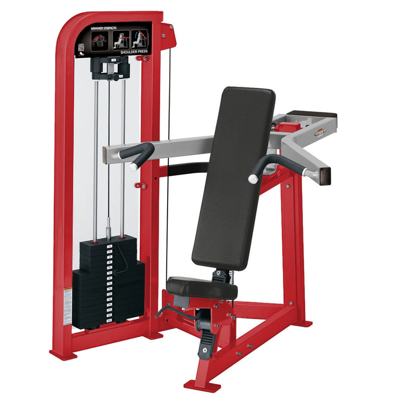 Hammer Strength Select Shoulder Press in red and platinum.