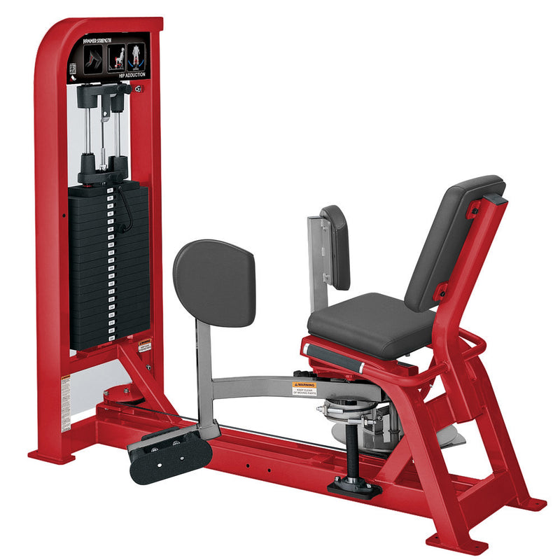 Hammer Strength Select Hip Adduction in red and platinum.