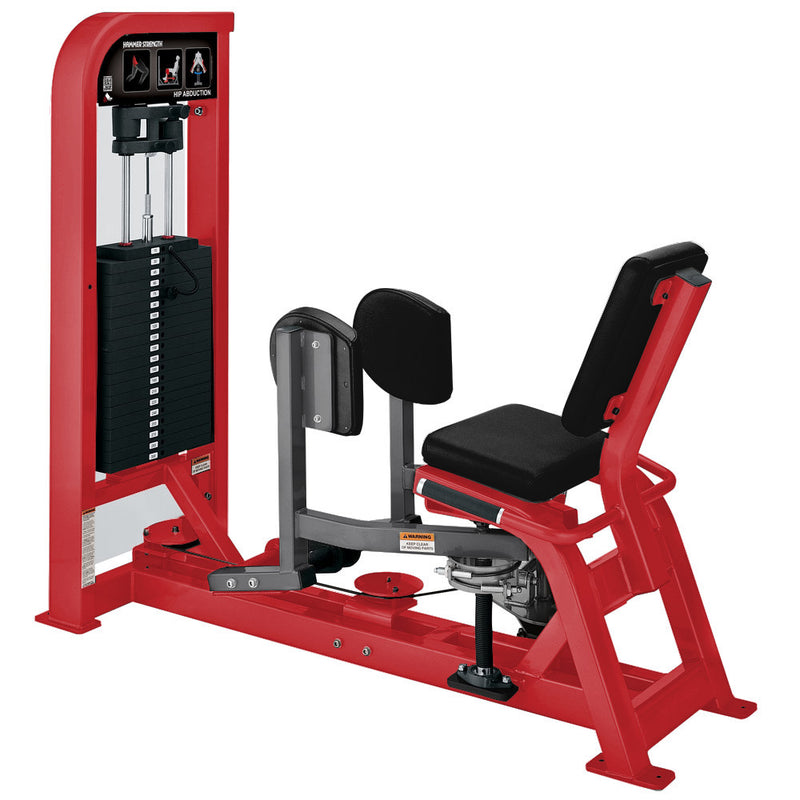 Hammer Strength Select Hip Abduction in red and titanium.