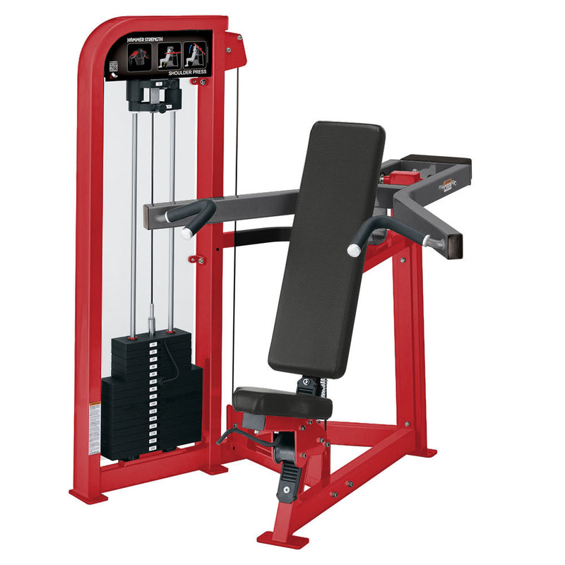 Hammer Strength Select Shoulder Press in red and titanium.