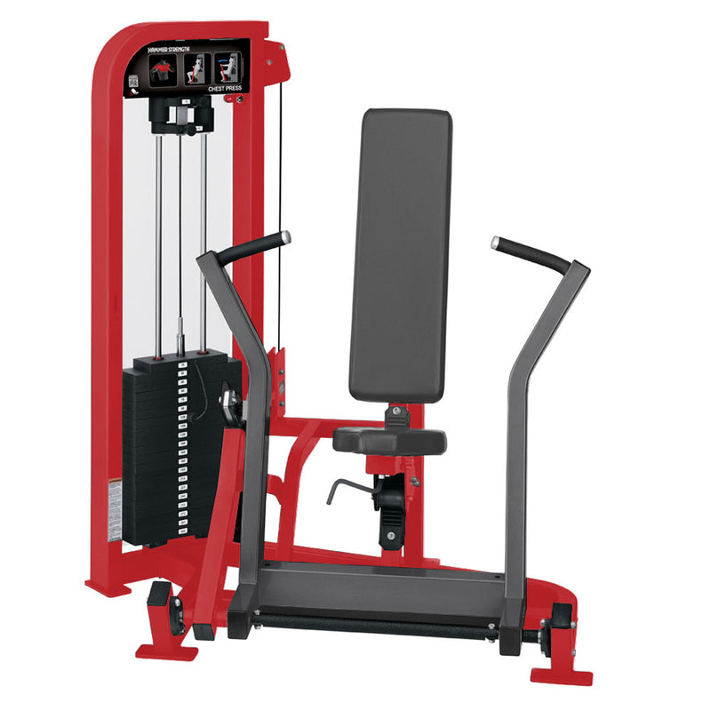 Hammer Strength Select Chest Press in red and titanium.
