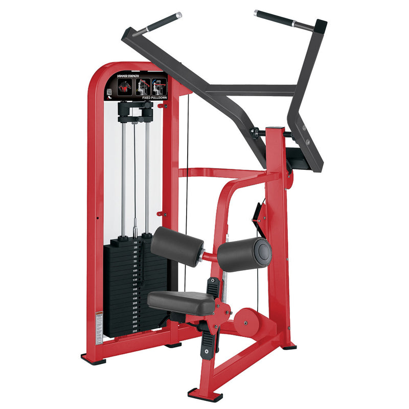 Hammer Strength Select Fixed Pulldown in red and titanium.