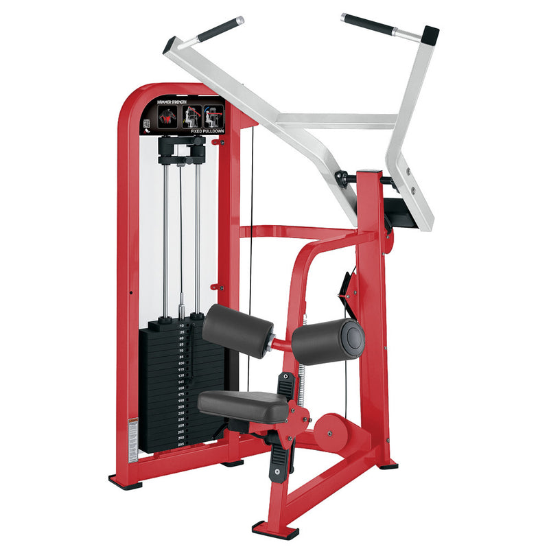 Hammer Strength Select Fixed Pulldown in red and white.