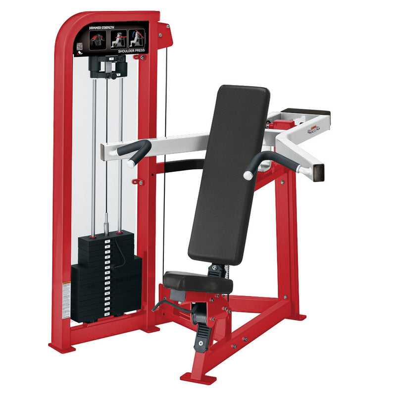 Hammer Strength Select Shoulder Press in red and white.