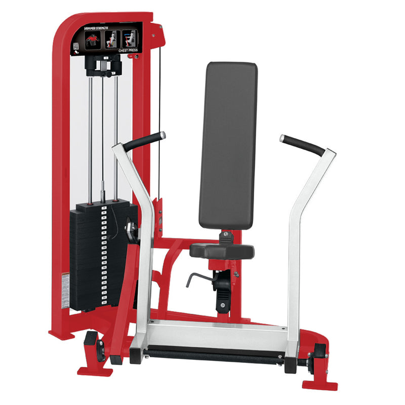 Hammer Strength Select Chest Press in red and white.